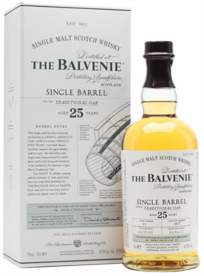 The Balvenie Single Barrel 25 Year Old Malt Scotch Whisky 750ml Bottle